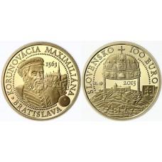 100 euro 2013 korunovácia Maximiliána II. v Bratislave