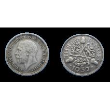 Anglicko 3 Pence 1932