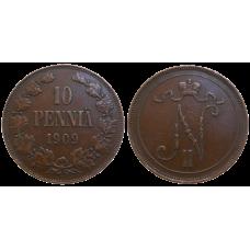 Fínsko 10 Pennia 1909