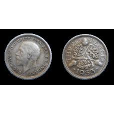 Anglicko 3 Pence 1933