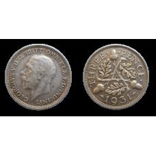 Anglicko 3 Pence 1931