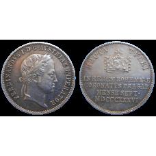 Ferdinand V. Pražský korunovačný žetón 1836