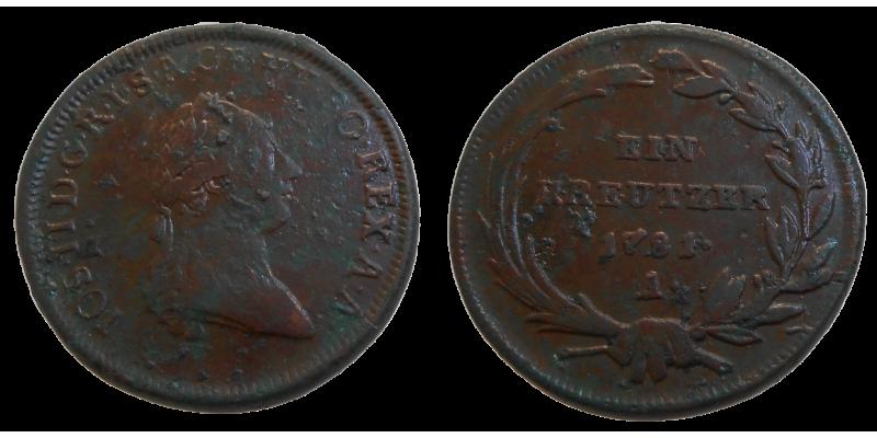 Jozef II. 1 grajciar 1781 A