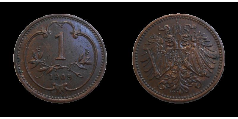 František Jozef I. 1 heller 1909 bz