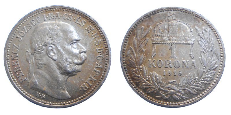 František Jozef I. 1 koruna 1916 KB