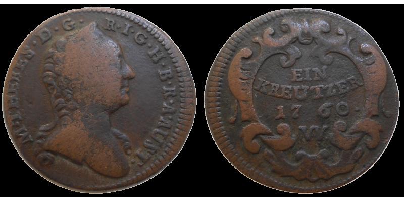 Mária Terézia 1 grajciar 1760 W