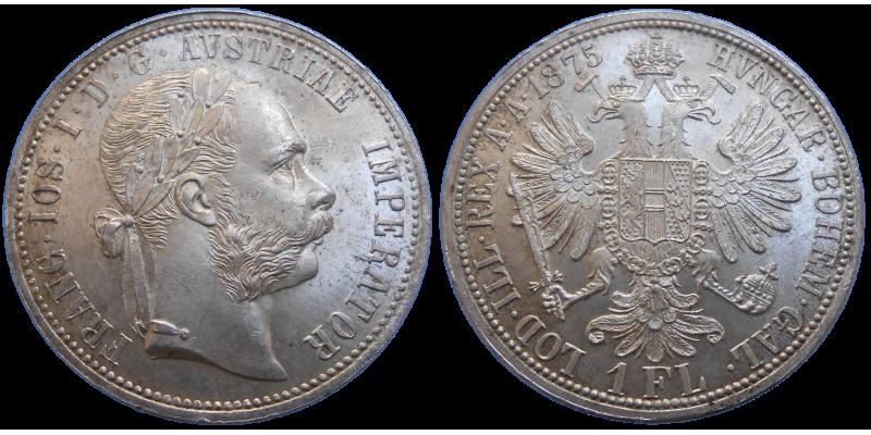 František Jozef I. 1 zlatník 1875 bz