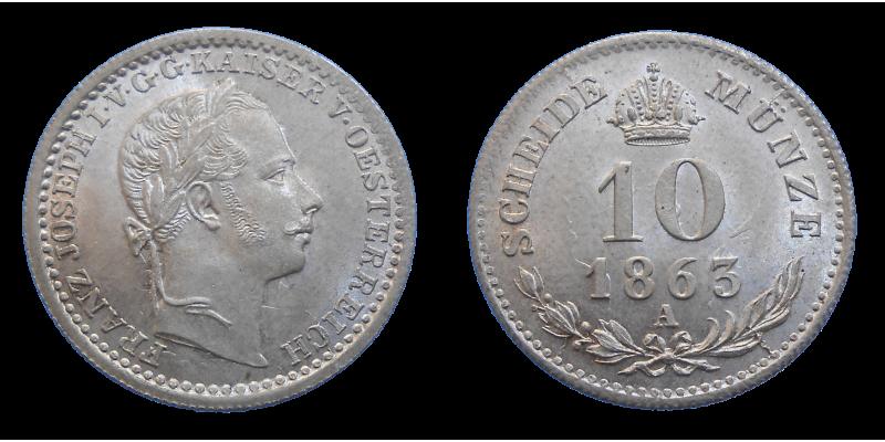 František Jozef I. 10 grajciar 1863 A