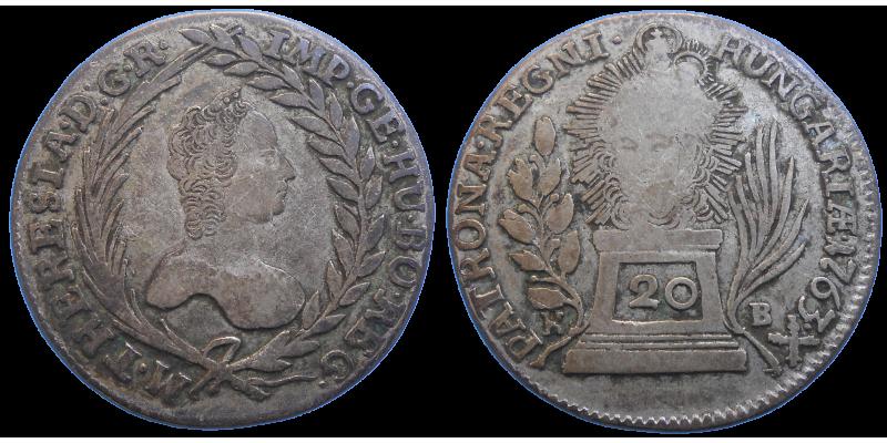 Mária Terézia 20 grajciar 1763 KB