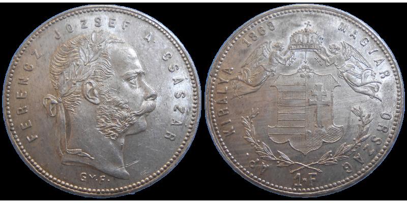 František Jozef I. 1 zlatník 1868 GYF