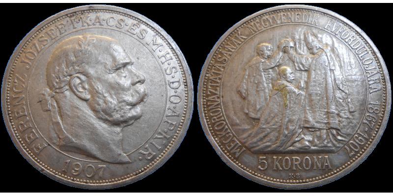 František Jozef I. 5 Koruna 1907 KB výročie korunovácie