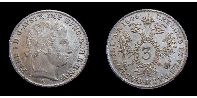Ferdinand V. 3 grajciar 1846 A