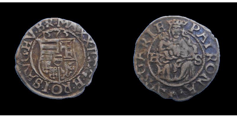 Maximilián II. denár 1575 HS
