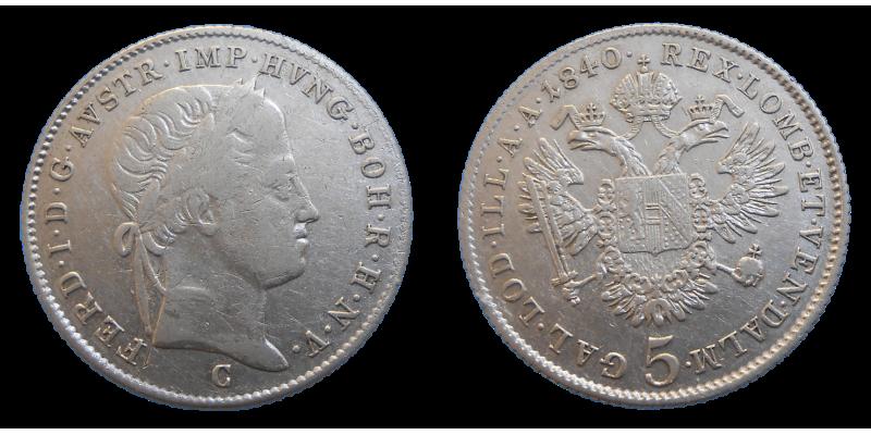 Ferdinand V. 5 grajciar 1840 C