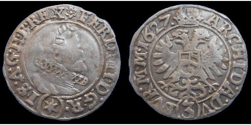 Ferdinand II. 3 grajciar 1627 Kutná Hora
