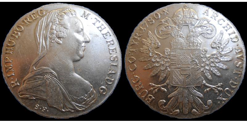 Mária Terézia levantský toliar 1780 SF