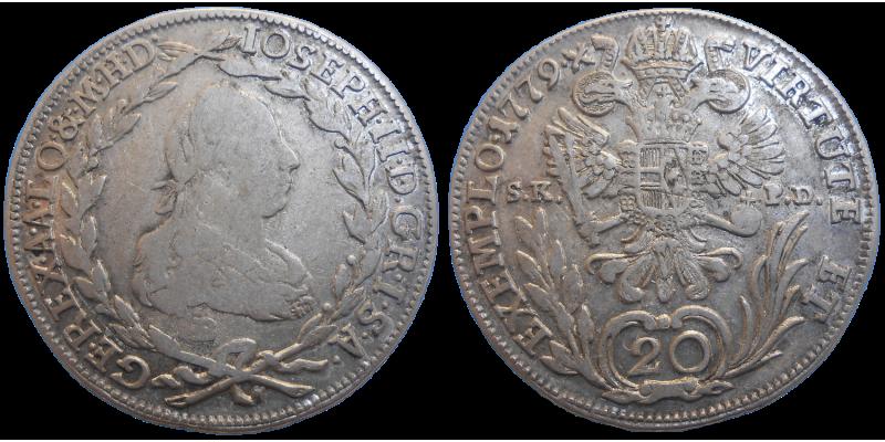 Jozef II. 20 grajciar 1779 B SKPD