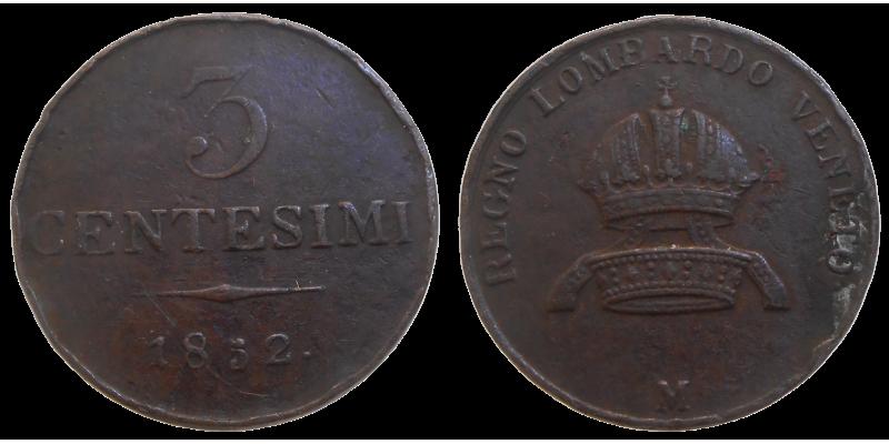 František Jozef I. 3 Centesimi 1852 M