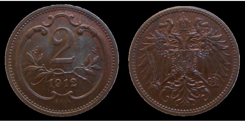 František Jozef I. 2 Heller 1912