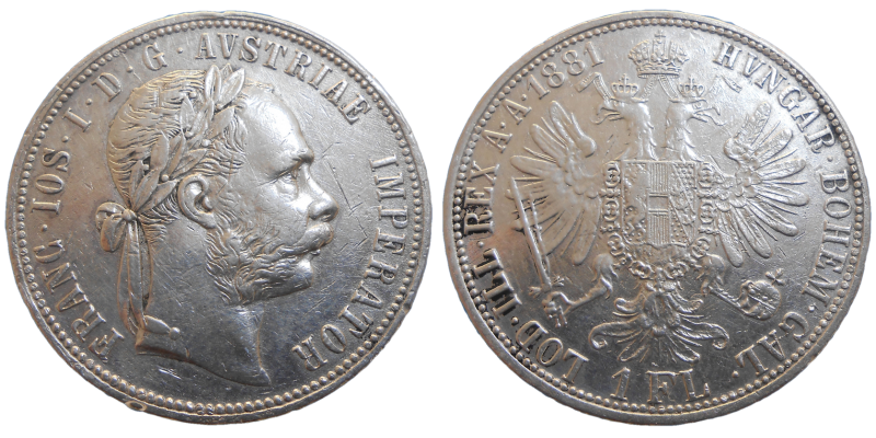 František Jozef I. 1 zlatník 1881 bz