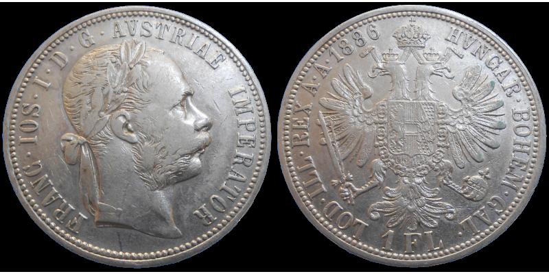 František Jozef I. 1 zlatník 1886 bz