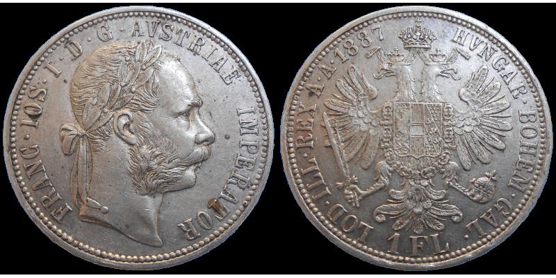 František Jozef I. 1 zlatník 1887 bz