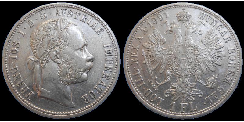 František Jozef I. 1 zlatník 1891 bz
