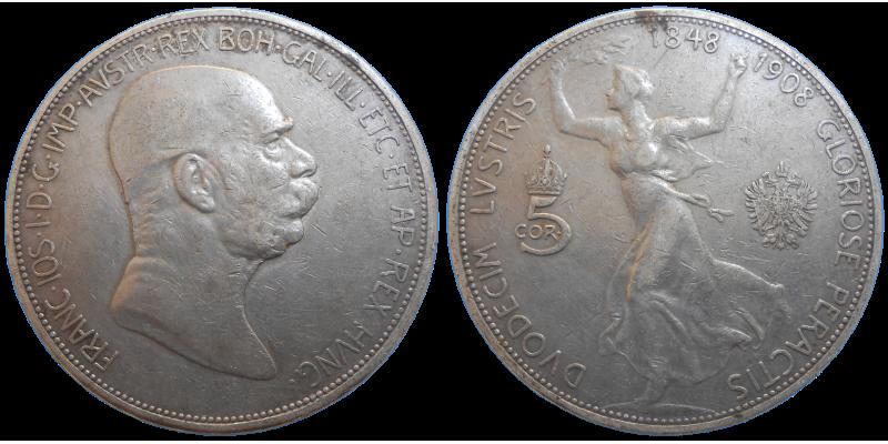František Jozef I. 5 Koruna 1908 Jubilejná