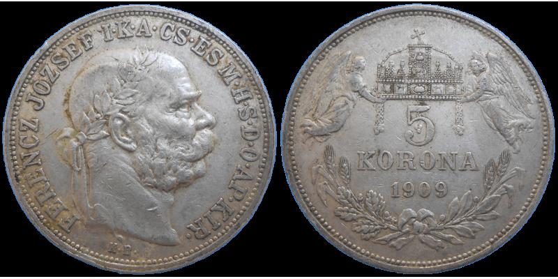 František Jozef I. 5 Koruna 1909 KB