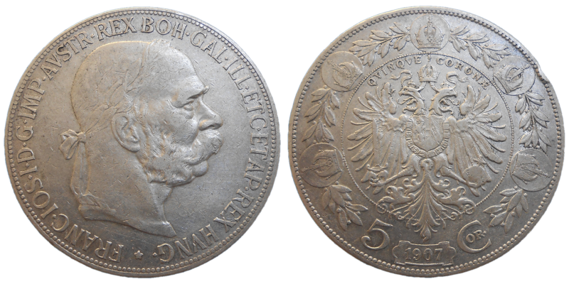 František Jozef I. 5 koruna 1907 bz