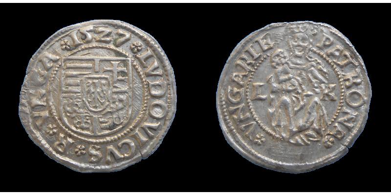 Ľudovít II. Jagelovský denár 1527 LK posmrtný