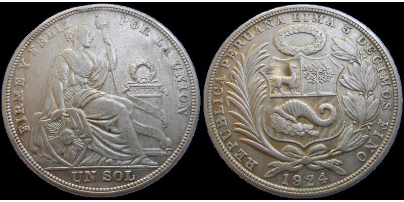 Peru 1 Sol 1924