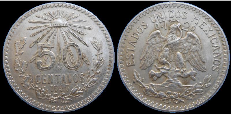 Mexiko 50 Centavos 1945