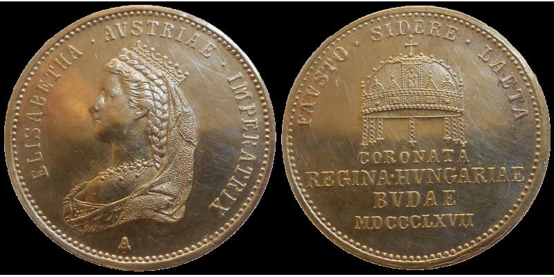 Zlatý korunovačný žetón cisárovnej Sisi 1867